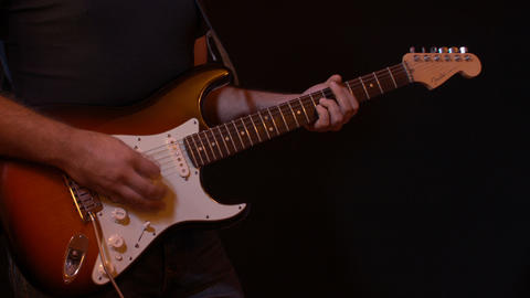 Electric Guitar Player Black Background Recording stock footage