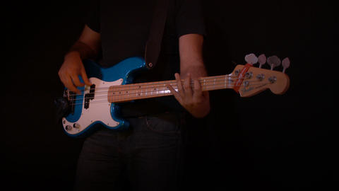 Electric Bass Guitar Player Black Background Recor Stock Video Footage