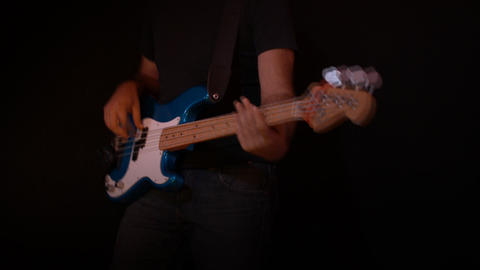 Electric Bass Guitar Player Black Background Recor Footage
