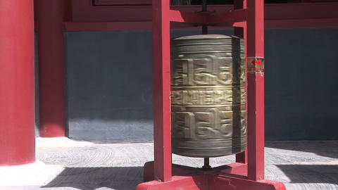 Prayer Wheel Spinning at Chinese Temple Stock Video Footage