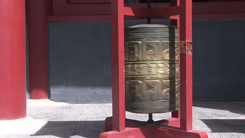 Prayer Wheel Spinning at Chinese Temple Footage