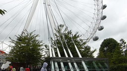 PAN UPWARDS AND CAPTURE VIEW OF LONDON EYE WHEEL, Stock Video Footage