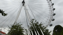 PAN UPWARDS AND CAPTURE VIEW OF LONDON EYE WHEEL,  stock footage