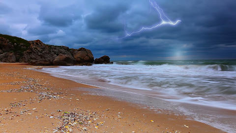 storm and the sea Stock Video Footage