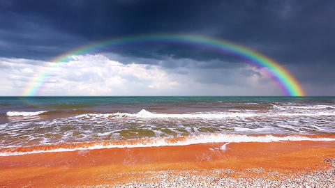 seascape with rainbow Footage