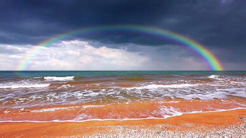 seascape with rainbow Stock Video Footage
