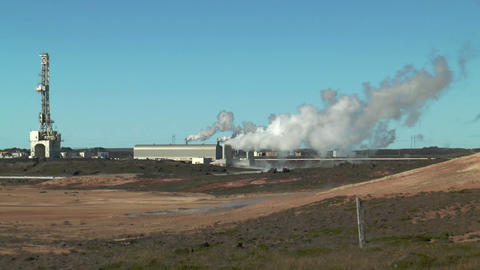 Geothermal power plant at gunnvher on southern pen Stock Video Footage