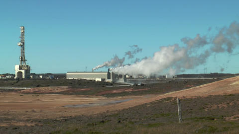 Geothermal power plant at gunnvher on southern pen Footage