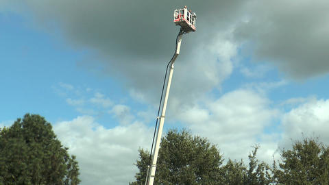 Basket of cherry picker turning Stock Video Footage