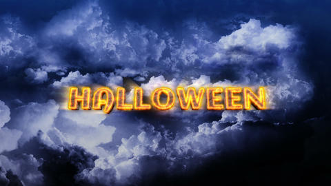 Halloween Text with Lightnings on Sky Stock Video Footage