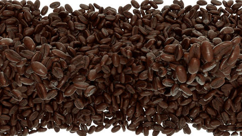 Roasted Coffee beans falling and mixing with slow  Animation