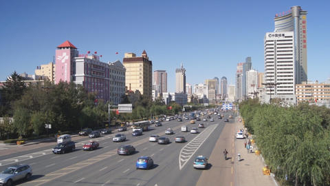 Harbin 08 Hong Jun Jie Street Traffic Stock Video Footage
