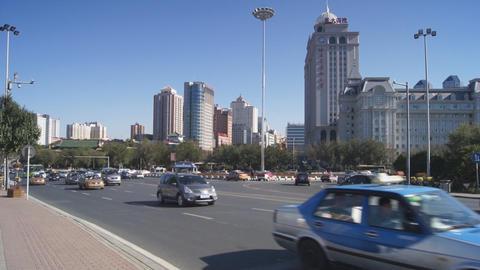 Harbin 10 Jihong Jie traffic Stock Video Footage