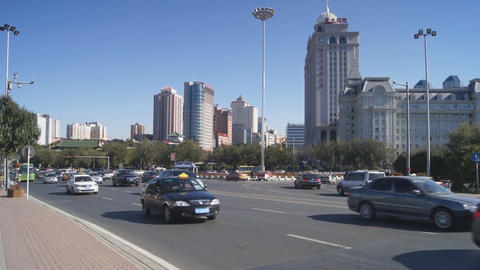 Harbin 10 Jihong Jie traffic Stock Video Footage