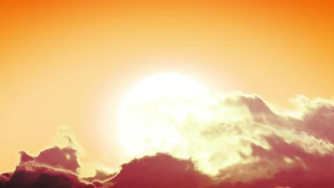 Beautiful Clean Sunrise with Huge Sun. Looped anim Stock Video Footage