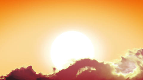 Beautiful Clean Sunrise with Huge Sun. Looped anim Stock Video Footage