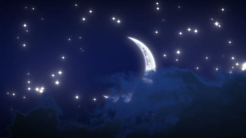 Beautiful New Moon with Stars and Clouds. Looped a Stock Video Footage