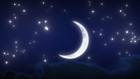 Beautiful New Moon with Stars and Clouds. Looped a Animation