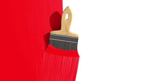 Paintbrush Painting Red color. Useful for Transiti Stock Video Footage