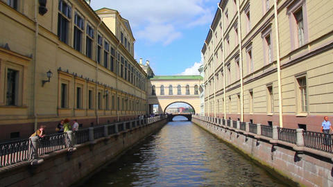 Boats on Winter Canal in St. Petersburg - timelaps Stock Video Footage