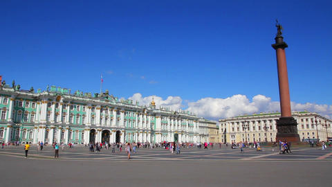Hermitage and Palace Square in St. Petersburg Stock Video Footage