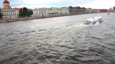 meteor - hydrofoil boat on Neva river in St. Peter Stock Video Footage