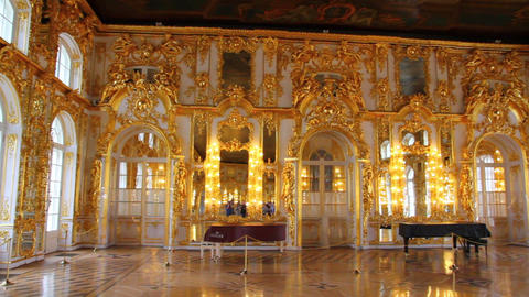 hall palace interior in Pushkin St. Petersburg Rus Footage