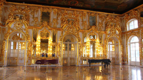 hall palace interior in Pushkin St. Petersburg Rus Stock Video Footage