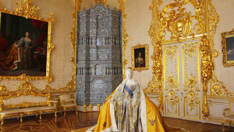 palace interior in Pushkin St. Petersburg Russia Stock Video Footage