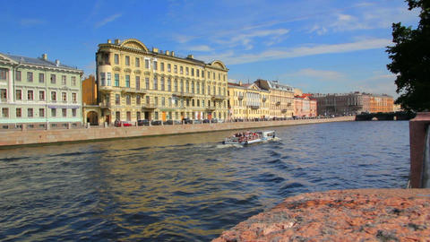Fontanka River In St. Petersburg Russia stock footage