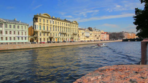 Fontanka River in St. Petersburg Russia Stock Video Footage