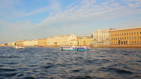Neva river in St. Petersburg Russia - shooting fro Stock Video Footage