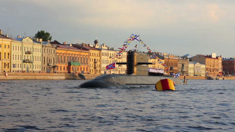 submarine on Neva River - day of the Navy in St. P Footage