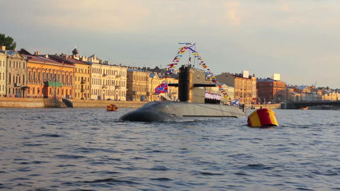 submarine on Neva River - day of the Navy in St. P Stock Video Footage