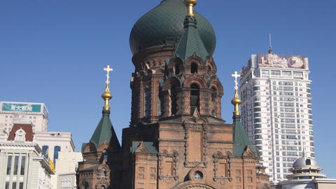 Harbin 13 St Sophia church pan up Footage