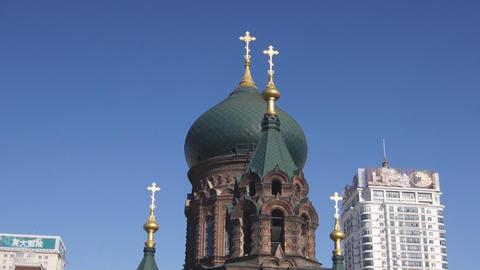 Harbin 13 St Sophia church pan up Stock Video Footage