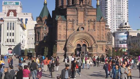Harbin 15 St Sophia church pan up Stock Video Footage