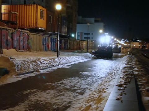 Tractors at night to clean the snow Stock Video Footage