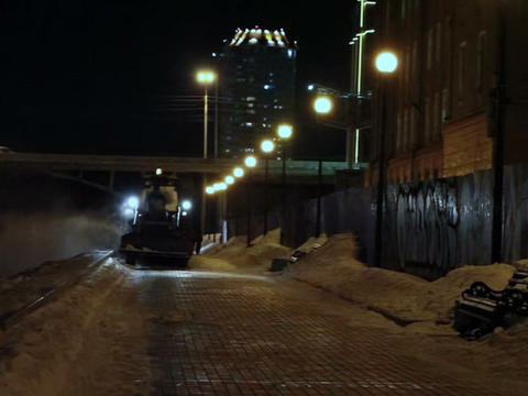 Tractors at night to clean the snow Footage
