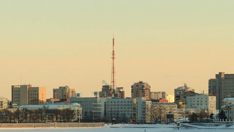 Around the TV tower. Russia, Yekaterinburg Stock Video Footage