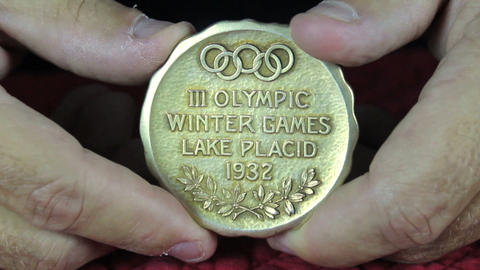 Lake Placid Olympic Gold Medal 1932 Stock Video Footage