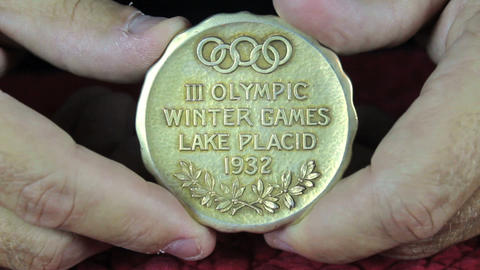 Lake Placid Olympic Gold Medal 1932 stock footage