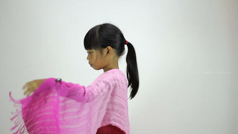 Little Asian Girl Does A Creative Dance Side View Stock Video Footage