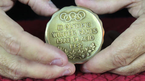 Olympic Gold Medal Both Sides Stock Video Footage