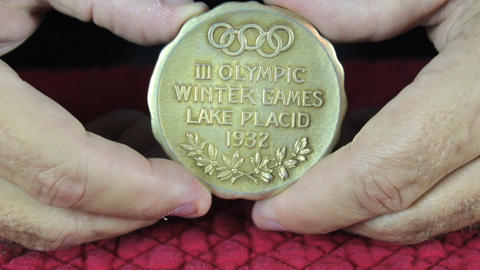 Olympic Gold Medal Both Sides stock footage