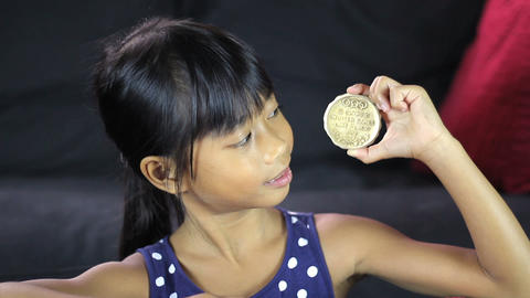 Proud Girl With 1932 Olympic Gold Medal Close Up Stock Video Footage