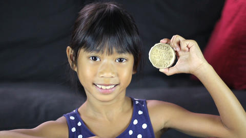 Proud Girl With 1932 Olympic Gold Medal Close Up Footage