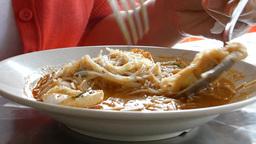 Eating a plate of mee siam. (EATING MEESIAM--1B) Stock Video Footage