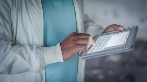 Man Hand Touching Screen On Digital Tablet 2 Stock Video Footage
