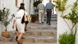 People Walking In A Typical Street Of Andalusia stock footage